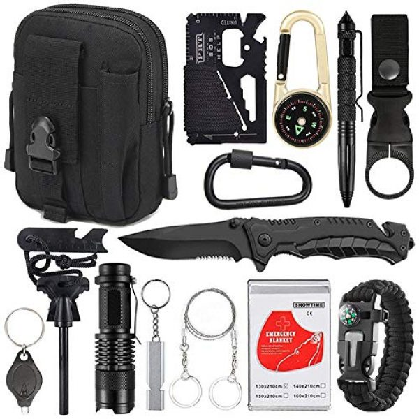 XUANLAN Survival Kit 1 XUANLAN Emergency Survival Kit 15 in 1, Outdoor Survival Gear Tool with Survival Bracelet, Fire Starter, Whistle, Wood Cutter, Water Bottle Clip, Tactical Pen