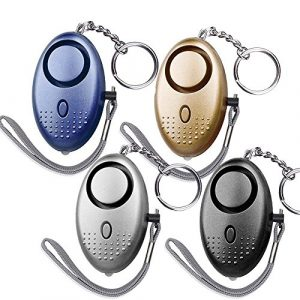 Dland Survival Alarm 1 Dland 130db Safesound Personal Alarm Set of 4, Personal Security Alarm Keychains with LED Safty Light and Emergency Alarm, Self Defense Electronic Device for Women Girls Elderly Safety. (Mixed Color)
