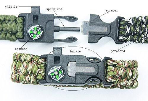 3 Bears  3 3 Bears Outdoor Survival Paracord Bracelet with Compass Fire Starter and Emergency Whistle(Pack of 3)