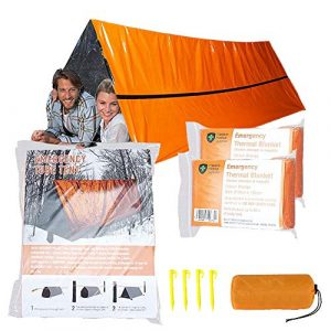 MrsharkFit Survival Shelter 1 MrsharkFit Emergency Tent with 2 Emergency Blanket - 2 Person Emergency Tent - Use As Survival Tent, Emergency Shelter, Tube Tent, Survival Tarp - Includes 4 Tent Nail