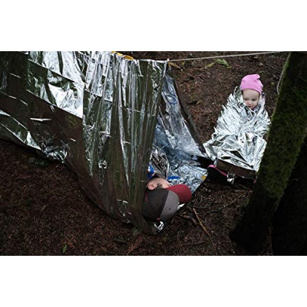 Sportsman Industries Survival Shelter 2 Sportsman Industries Survival Shelter Kit with Free Fire Starter. 4 Piece Mylar Thermal Tent, Blanket and Sleeping Bag is Best for Camping, Hiking, Survival Gear or Your Emergency Kit.