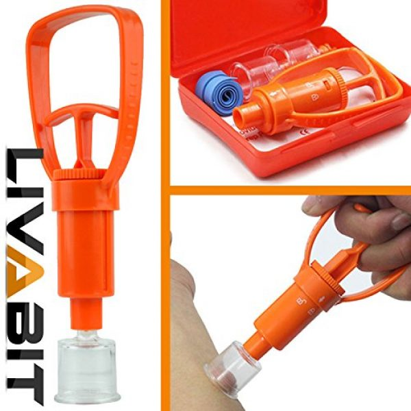 LIVABIT Survival Kit 5 LIVABIT Snake Bite Kit, Bee Sting Kit, Emergency First Aid Venom Extractor Suction Pump for Camping, Hiking and Backpacking