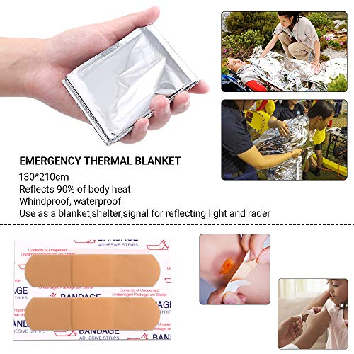 DONGKER  7 DONGKER Survival First Aid Kit Emergency Survival Kit Upgraded 2-1 First Aid Supply Compatible Outdoor Survival Gear Tactical Gear Molle Trauma Bag for Camping Hunting Hiking Home Outdoor