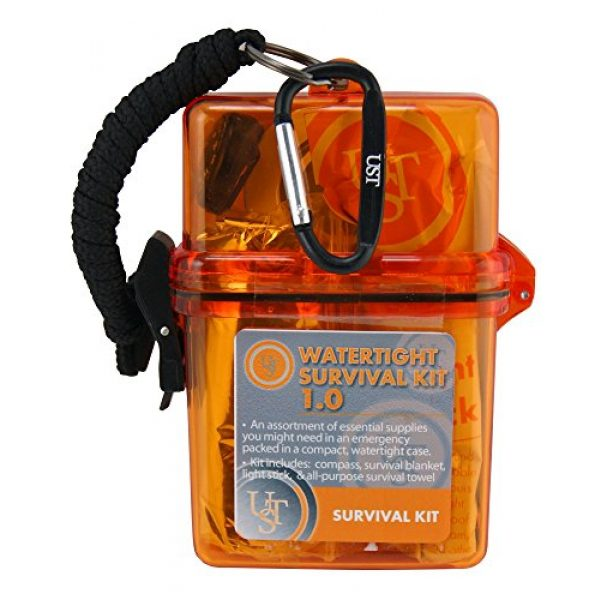 UST Survival Kit 2 UST Watertight Survival Kit 1.0 with Durable, Lightweight Construction, Survival Blanket and Emergency Tools while Camping, Hiking and Outdoor Survival