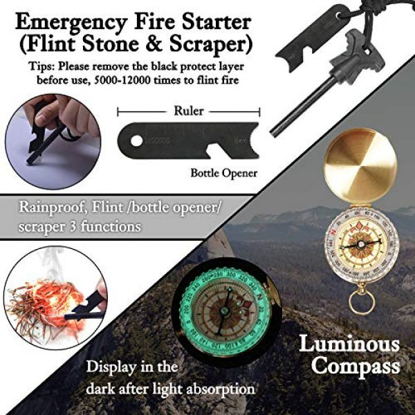 Your Choice Survival Kit 5 Your Choice Emergency Survival Kit 13 in 1, Camping Hunting Gear with Survival Blanket, Fire Starter, Whistle, Tactical Pen, Compass, Flashlight for Car Outdoor Adventures