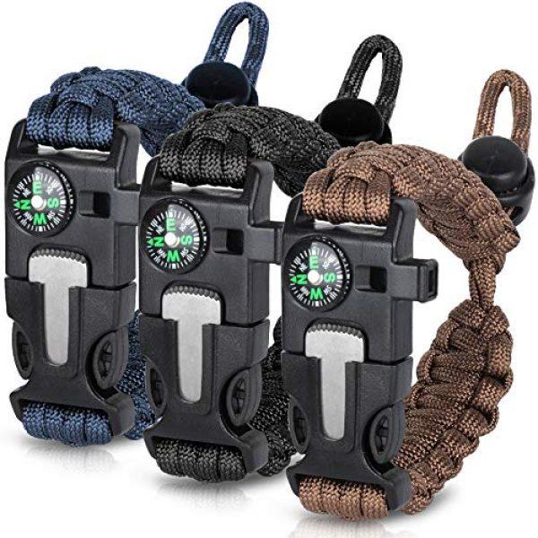 HNYYZL Survival Bracelet 1 HNYYZL 3 Pack Paracord Bracelet Survival- Adjustable Size, Compass, Fire Starter, Whistle and Emergency Knife, for survivalists, Hikers, Climbers, Campers(Black, Blue, Brown)