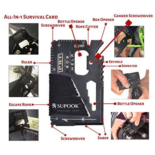 Supook Survival Gear Survival Kit 5 SUPOOK 14 in 1 Doomsday Survival Kit with Safety Alarm Keychain for Emergency Preparedness for Car with Tools Pack or Outdoor Hiking, Camping Gear for Men Unique Gifts for Men, Kids Survival Tool