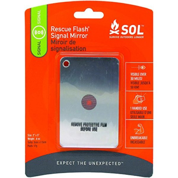 S.O.L. Survive Outdoors Longer Survival Mirror 1 S.O.L. Survive Outdoors Longer Rescue Flash Mirror, 0140-1003