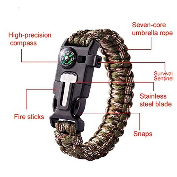 AOOTOOSPORT Survival Bracelet 2 AOOTOOSPORT Survival Paracord Bracelets, 10 Pack Kit Outdoor Survival Bracelet Camping Fishing Hiking Gear with Compass, Fire Starter, Whistle and Emergency Knife