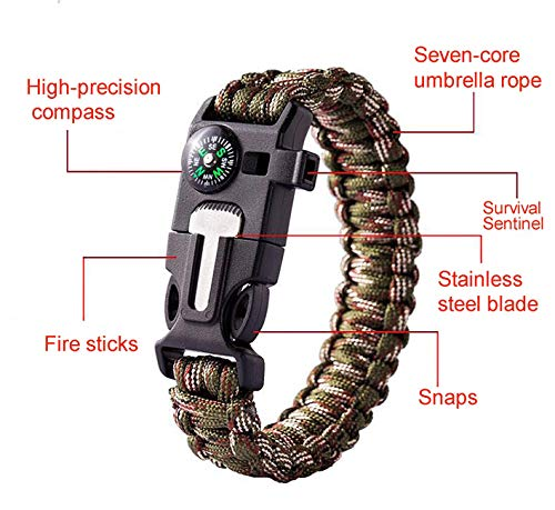 10 Pack Kit Outdoor Survival Bracelet Camping Fishing Hiking Gear with Compass