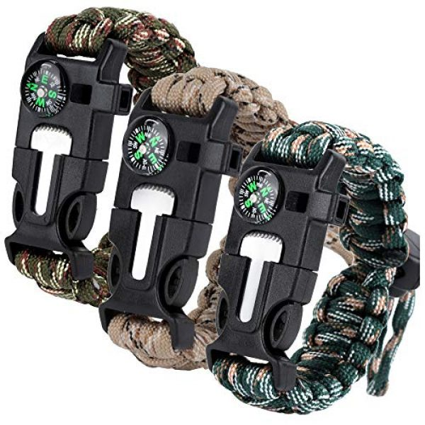 HNYYZL Survival Bracelet 1 HNYYZL 3 Pack Adjustable Paracord Bracelet Kit Outdoor Survival Bracelet Camping Hiking Gear with Compass, Fire Starter, Whistle and Emergency Knife