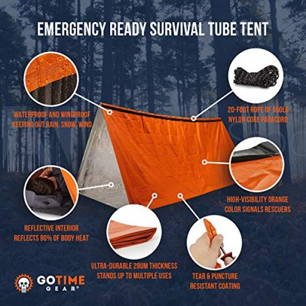 Go Time Gear Survival Kit 2 Go Time Gear Life Tent Emergency Survival Shelter - 2 Person Emergency Tent - Use As Survival Tent, Emergency Shelter, Tube Tent, Survival Tarp - Includes Survival Whistle & Paracord