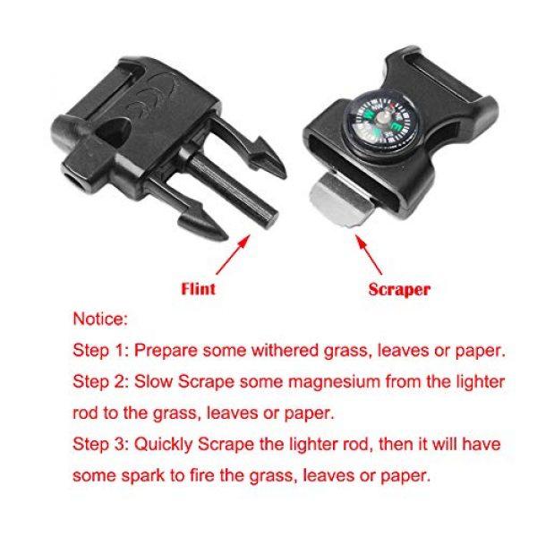 "CooBigo Survival Kit 5 10pcs Pack Black 5/8"" Compass Flint Scraper Fire Starter Whistle Buckle Plastic Paracord Bracelet Outdoor Camping Emergency Survival Travel Kits #FLC158-FWC(Black)"