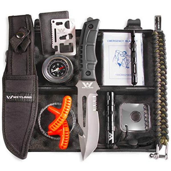 WEYLAND Survival Kit 1 WEYLAND Emergency Survival Kit - Outdoor Survival Gear, Full Size Tactical Bushcraft Knife and Essential Camping and Hiking Tools for Any Outdoorsman