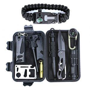 HSYTEK Survival Kit 1 HSYTEK Survival Gear Kit 11 in 1, Professional Outdoor Emergency Survival Kit with Tactical Pen|Bracelet|Temperature Compass|Fire Starter|Flashlight for Camping,Hiking,Travel or Adventures Necessary