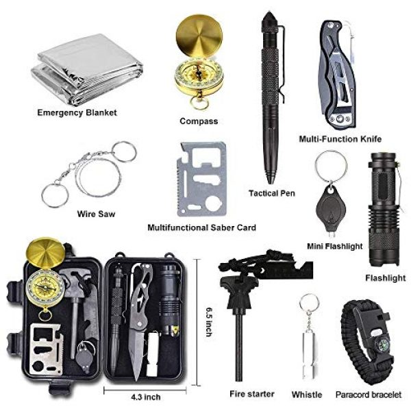 Alritz Survival Kit 2 Alritz Emergency Survival Kit, 12 in 1 Outdoor Survival Gear Lifesaving Tools Contains Compass, Fire Starter, Flashlights for Camping Hiking Wilderness Adventures and Disaster Preparedness