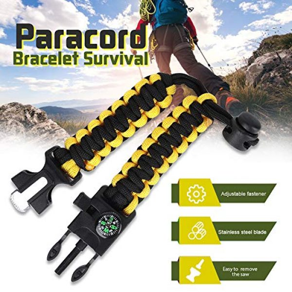 HNYYZL Survival Bracelet 3 HNYYZL 3 Pack Paracord Bracelet Survival- 6 in 1- Adjustable FHNYYZL 3 Pastener, Compass, Fire Starter, 7 Core Rope, Whistle and Emergency Knife, Compact & Portable for Someone Enjoy Camping, Outdoor