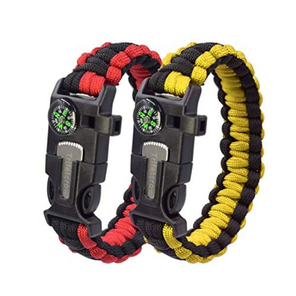 Trifetcrow Survival Bracelet 1 Trifetcrow 2 PCS - Survival Bracelet, Emergency Kit Flint, Fire Starter, Compass, Whistle, Blade, Detachable Paracord, Outdoor, Camping, Climbing, Forest, Fishing, Hunting Gear