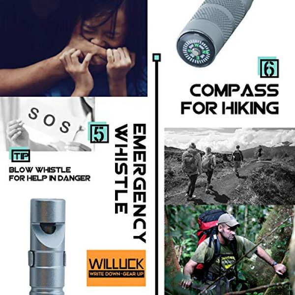 WILLUCK Survival Kit 5 Gifts for Dad Men Husband,Tactical Pen (8-in-1),Cool Anniversary Birthday Gifts for Boyfriend Him,Gift Box