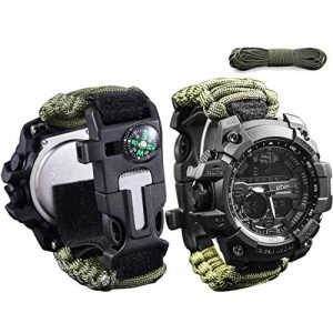 wejie Survival Kit 1 wejie Survival Bracelet Watch, Men and Women Digital Outdoor Sports Watch, 6-in-1 Waterproof Emergency Survival Watches with Paracord, Whistle, Fire Starter, Scraper, Compass and Survival Gear