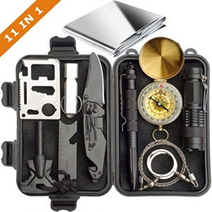 XMCOSOCS Survival Kit 1 Survival Kit 11 in 1 - Gift for Men Father Husband Dad Mom Boy Boyfriend, Present for Birthday Valentines Day Graduation Christmas | SOS Emergency Tool - Outdoor Gear for Car Hiking Camping Climbing