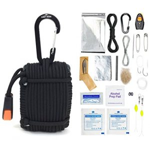 LAST MAN Survival Gear Survival Kit 1 26 Piece Paracord Survival Kit with Thermal Blanket, Fishing Kit, Fire Starter, First Aid, Gear Repair, Emergency Whistle, and More!