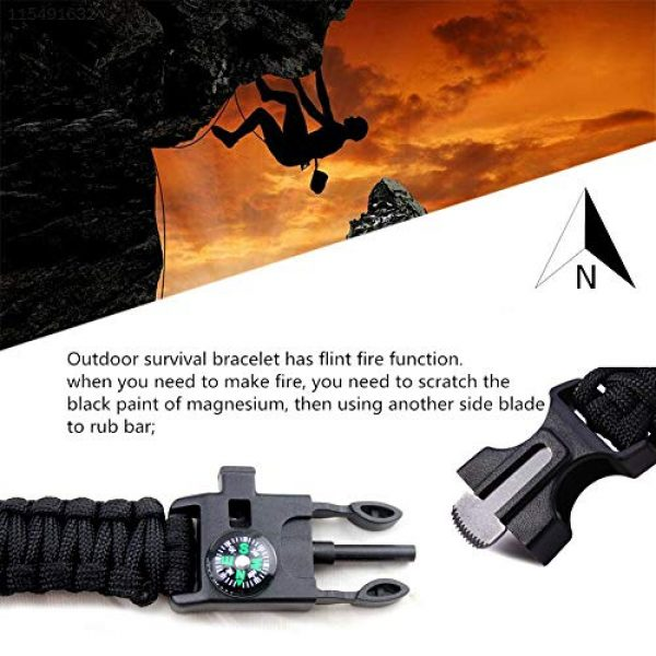 AOOTOOSPORT Survival Bracelet 4 AOOTOOSPORT Survival Paracord Bracelets, 10 Pack Kit Outdoor Survival Bracelet Camping Fishing Hiking Gear with Compass, Fire Starter, Whistle and Emergency Knife