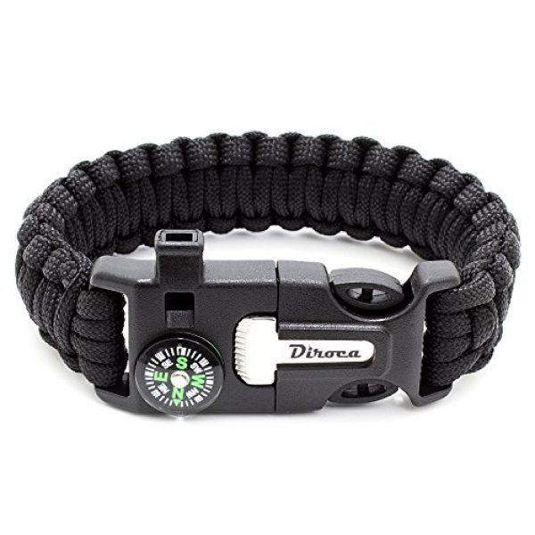 Diroca Survival Bracelet 7 Paracord Bracelet Survival Kit | Black 550 Parachute Cord | 5 in 1 Tactical Set w/ Compass, Fire Starter, Knife, Whistle & Rescue Rope | Outdoor Emergency Gear | Waterproof | 2Pcs + Monkey Keychain