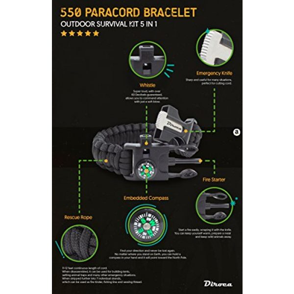 Diroca Survival Bracelet 2 Paracord Bracelet Survival Kit | Black 550 Parachute Cord | 5 in 1 Tactical Set w/ Compass, Fire Starter, Knife, Whistle & Rescue Rope | Outdoor Emergency Gear | Waterproof | 2Pcs + Monkey Keychain
