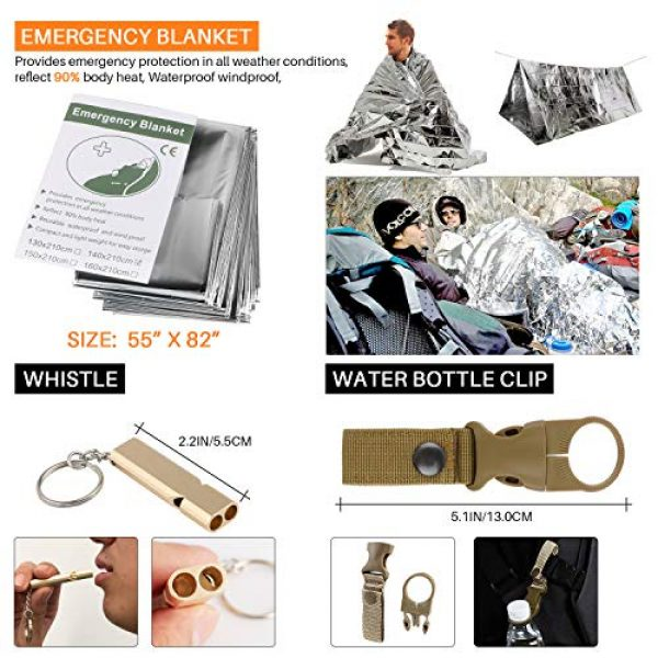 BlueStraw Survival Kit 3 Emergency Survival Kit, 17 in 1 Tactical Kit Outdoor Survival Gear Tool with Fire Starter Flashlight Whistle Blanket Compass Bracelet Tactical Pen for Camping Hiking Wilderness Adventure
