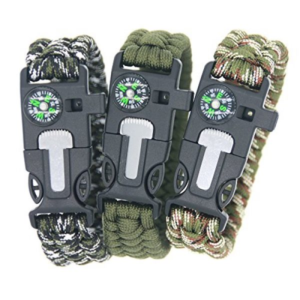 3 Bears Survival Bracelet 1 3 Bears Outdoor Survival Paracord Bracelet with Compass Fire Starter and Emergency Whistle(Pack of 3)
