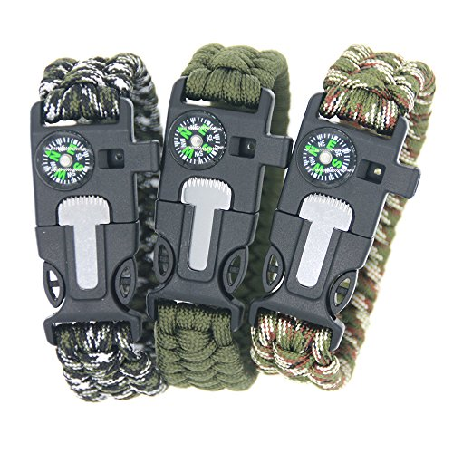 3 Bears  1 3 Bears Outdoor Survival Paracord Bracelet with Compass Fire Starter and Emergency Whistle(Pack of 3)