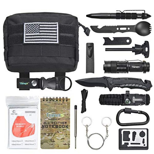 Tianers Survival Kit 1 Tianers Gifts for Men Husband Dad Friend, Emergency Survival Kit 16 in 1, Upgrade Compact Survival Gear, Cool EDC Survival Tool for Cars, Camping, Hiking, Hunting, Fishing, Adventure Accessorie