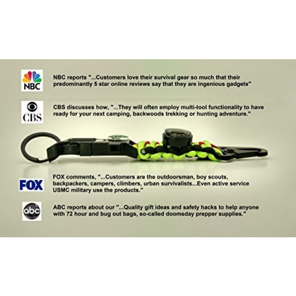 PREP2GO Survival Keychain 7 PREP2GO Paracord Survival Keychain-Compass Whistle Firestarter Kit-Cool Gadget Gifts for Husband Dad Men Him or Her-Camping Hiking Hunting-Mom,Teen Girl Boy Scout Can Get Fire & Shelter in Emergency!