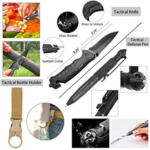 CHAREADA Survival Kit 4 Emergency Survival Kit 37 in 1, Survival Gear Tool Kit SOS Survival Tool Emergency Blanket Tactical Pen Flashlight Pliers Wire Saw for Wilderness Camping Hiking First Aid Survival Kit for Earthquake