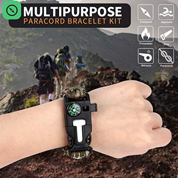 HNYYZL Survival Bracelet 3 HNYYZL 3 Pack Adjustable Paracord Bracelet Kit Outdoor Survival Bracelet Camping Hiking Gear with Compass, Fire Starter, Whistle and Emergency Knife