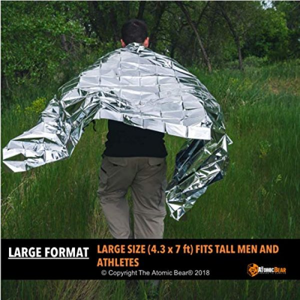 The Atomic Bear Survival Kit 6 Emergency Blanket or Space Blankets - Ideal as a Survival Thermal Protection - Very Light Double Sided Sheet of Mylar Foil - Best for Bug Out Bag (BOB), EDC, First Aid Kit, Hiking, Camping, Hunting, F
