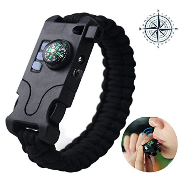 Webeauty Survival Bracelet 3 Webeauty Paracord Survival Bracelet Rechargeable - 1Pc/2Pcs Survival Gear Emergency Kit with LED Flashlight, Compass, Loud Whistle, Laser Infrared for Outdoor, Hiking, Camping and Travelling
