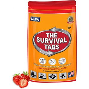 The Survival Tabs Emergency Survival Food 1 S.O.S. Rations Emergency Food Ration Survival Tabs- 2 days Package Gluten Free and Non-GMO 25 Years Shelf Life (24-tab pouch - Strawberry)