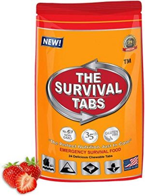 The Survival Tabs  1 S.O.S. Rations Emergency Food Ration Survival Tabs- 2 days Package Gluten Free and Non-GMO 25 Years Shelf Life (24-tab pouch - Strawberry)
