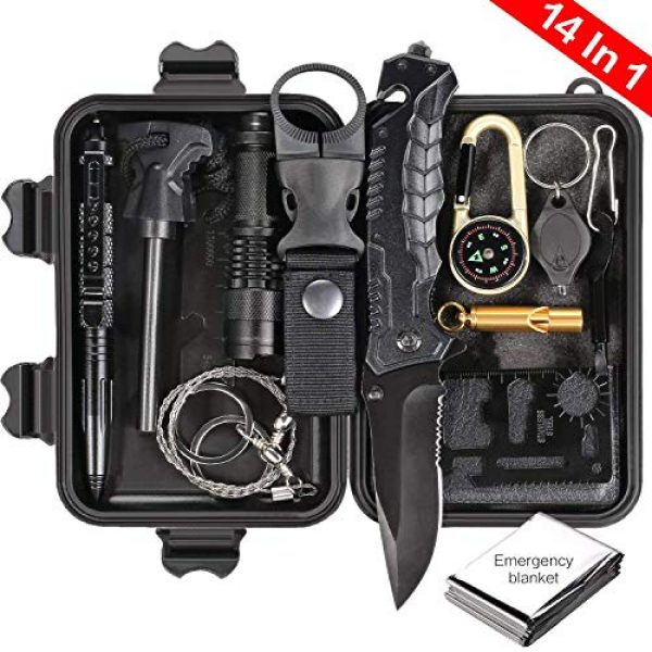 Puhibuox Survival Kit 1 Puhibuox Emergency Survival Kit, 14 in 1 Survival Gear Kit Gift for Men Him, Tactical Defense Equitment Tool for Camping, Hiking, Hunting, Adventure Accessories