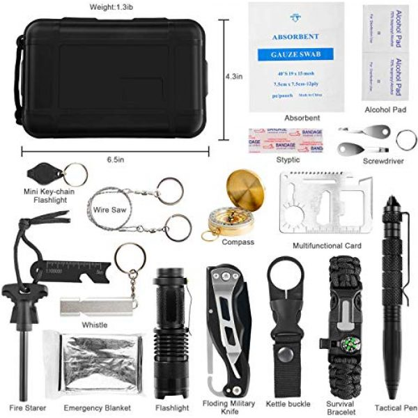 KOSIN Survival Kit 2 KOSIN Survival Gear, 18 in 1 Emergency Survival Kit, Professional Tactical Defense Equitment Tool with Knife Blanket Bracelets Backpack Temperature Compass Fire Starter for Adventure Outdoors Sport