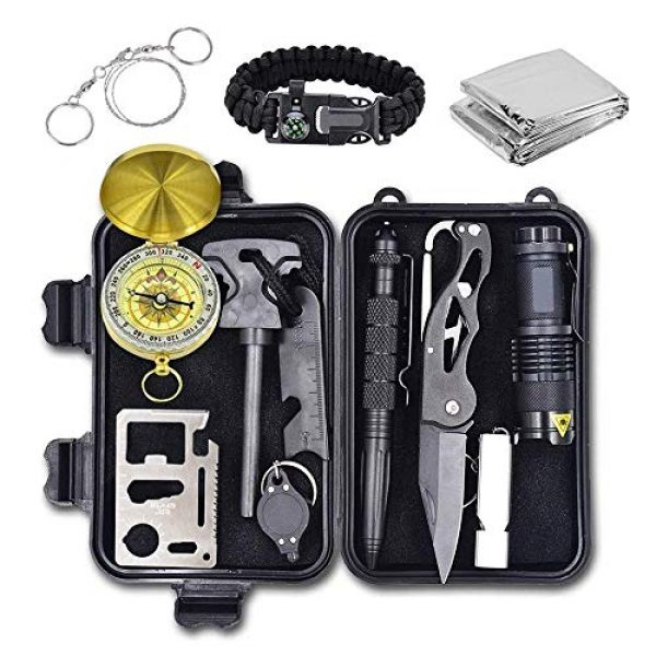 Alritz Survival Kit 1 Alritz Emergency Survival Kit, 12 in 1 Outdoor Survival Gear Lifesaving Tools Contains Compass, Fire Starter, Flashlights for Camping Hiking Wilderness Adventures and Disaster Preparedness
