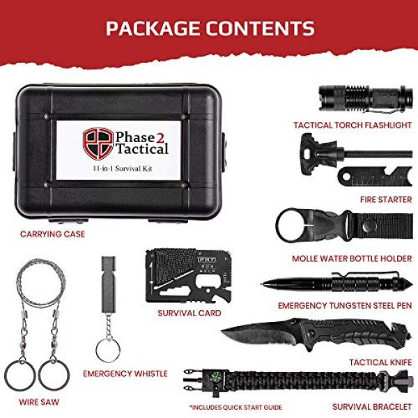 Phase 2 Tactical Survival Kit 3 Phase 2 Tactical Survival Gear Kit - This 11-Piece Emergency Survival Kit Ensures That Youll Be Ready for Anything - High-End, Portable Prepper Gear from a Proud American, Veteran-Owned Business