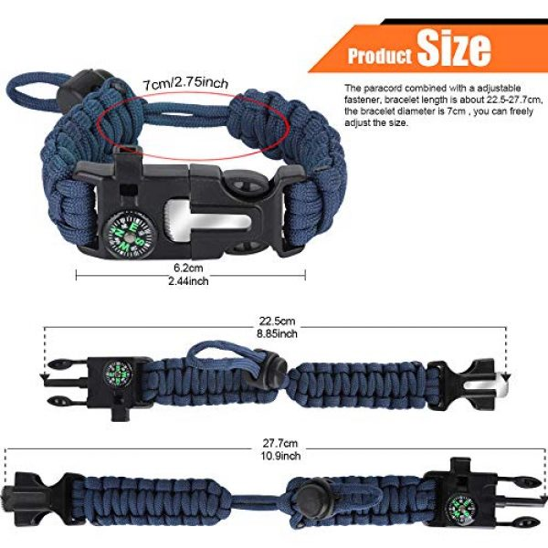 HNYYZL Survival Bracelet 2 HNYYZL 3 Pack Paracord Bracelet Survival- Adjustable Size, Compass, Fire Starter, Whistle and Emergency Knife, for survivalists, Hikers, Climbers, Campers(Black, Blue, Brown)