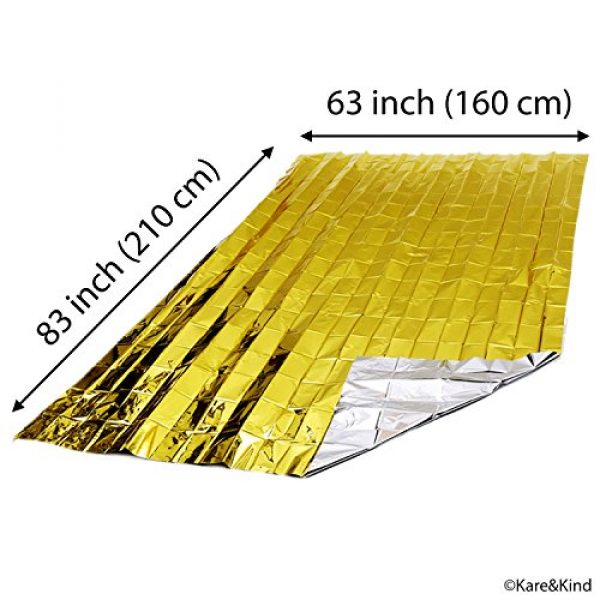 Kare & Kind Survival Kit 3 Emergency Mylar Thermal Blankets - 10-Pack (4x Gold, 6x Silver) - Up to 90% Heat Retention - Essential First Aid Kit item for Camping, Hiking and Survival Trips - 83x63inch - Individually Packed