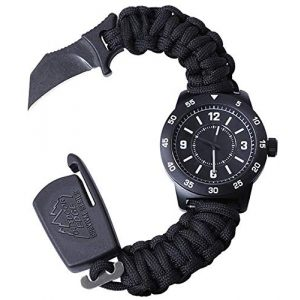 Outdoor Edge Survival Watch 1 Outdoor Edge Zinc ParaClaw CQD Survival Watch with Black Heavy Duty Paracord Bracelet, 1.5 Inch Knife Blade