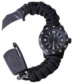 Outdoor Edge  1 Outdoor Edge Zinc ParaClaw CQD Survival Watch with Black Heavy Duty Paracord Bracelet