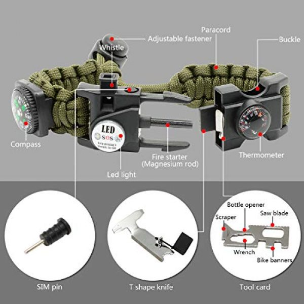 LeMotech Survival Kit 3 LeMotech 21 in 1 Adjustable Paracord Survival Bracelet, Tactical Emergency Gear Kit Includes SOS LED Flashlight, Bigger Compass, Thermometer, Rescue Whistle and Fire Starter - Outdoor Hiking Camping