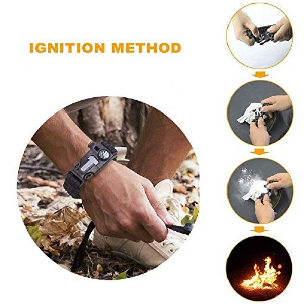 Trifetcrow Survival Bracelet 4 Trifetcrow 2 PCS - Survival Bracelet, Emergency Kit Flint, Fire Starter, Compass, Whistle, Blade, Detachable Paracord, Outdoor, Camping, Climbing, Forest, Fishing, Hunting Gear
